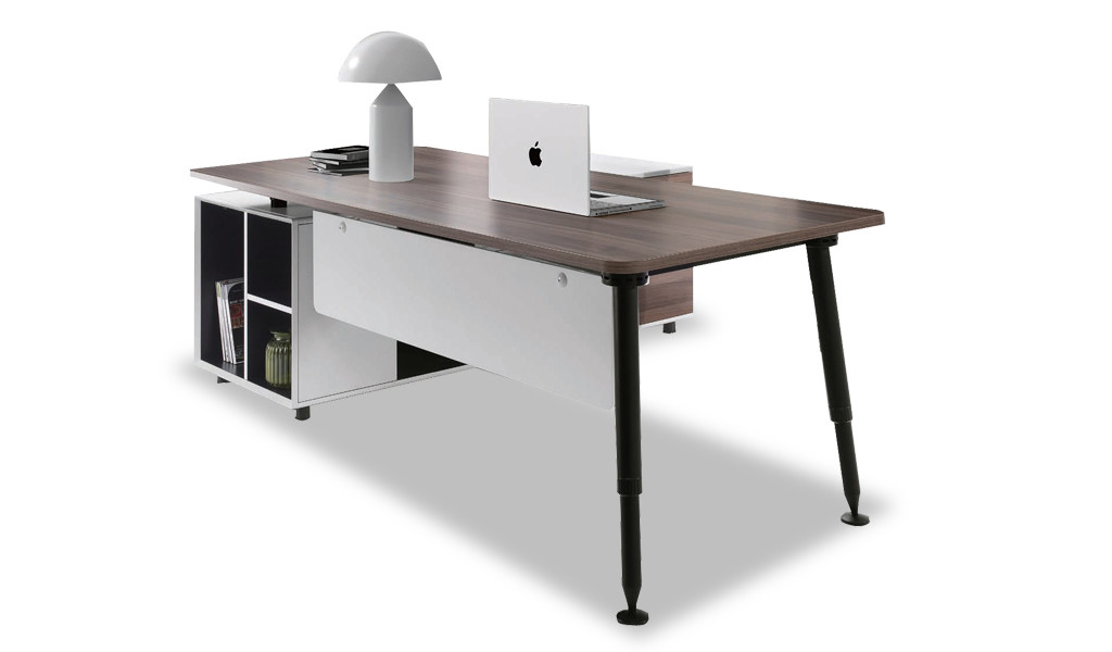 modern office desk in walnut laminate and white