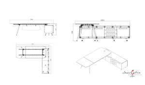 shop drawing of 9 feet office table with side cabinet