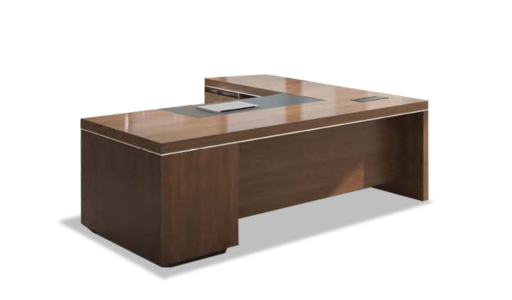 office table in walnut veneer with side return