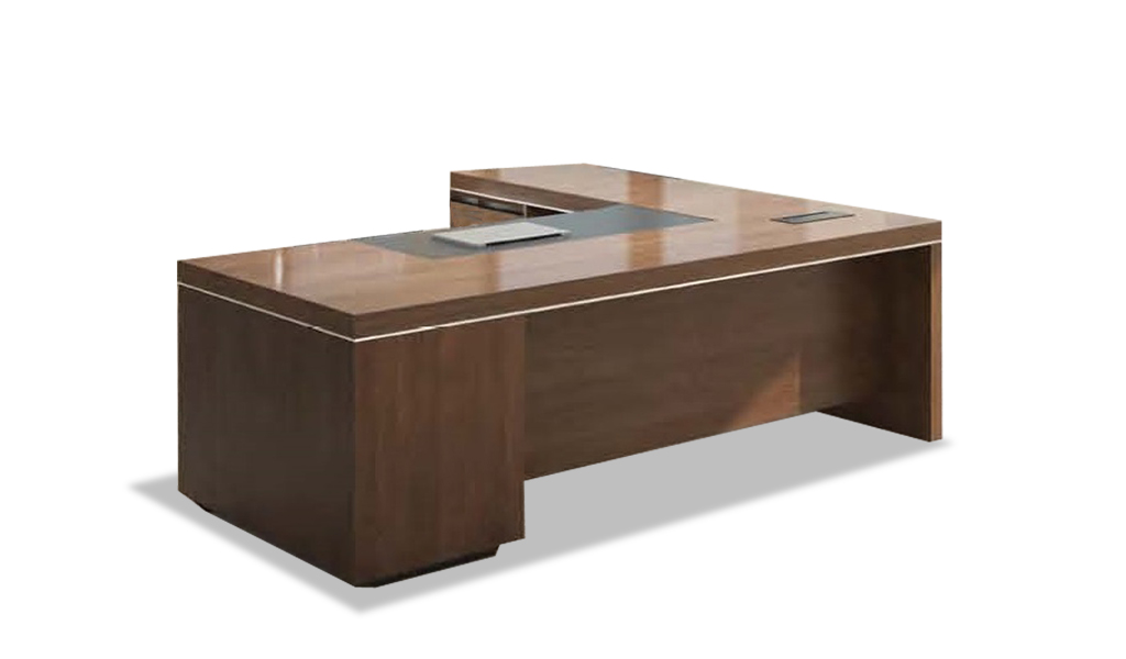 L Shaped Office Desk In Walnut With Leather Trim Boss S Cabin