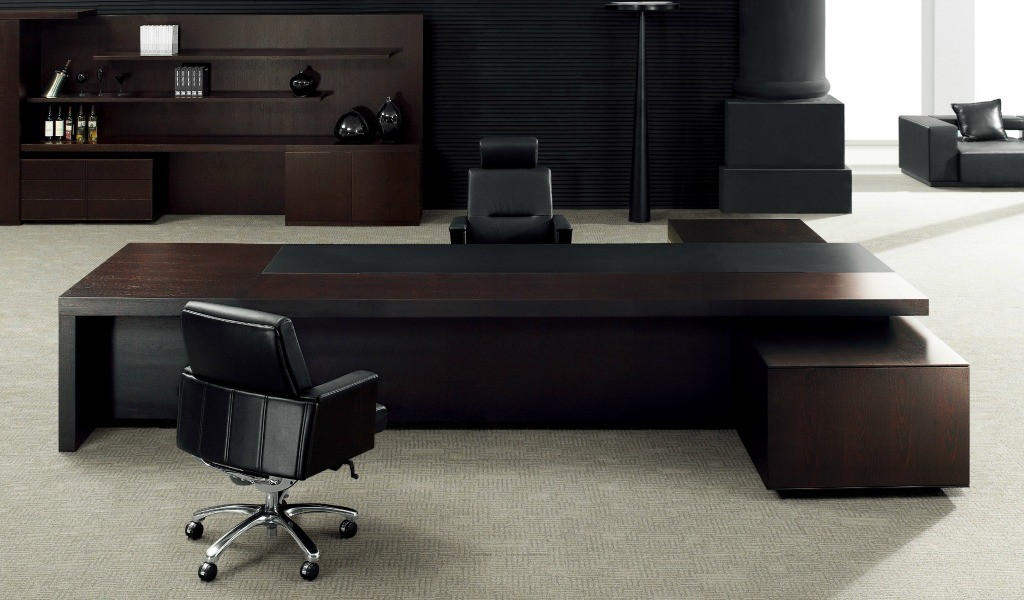 large office cabin with big office table and leather chairs