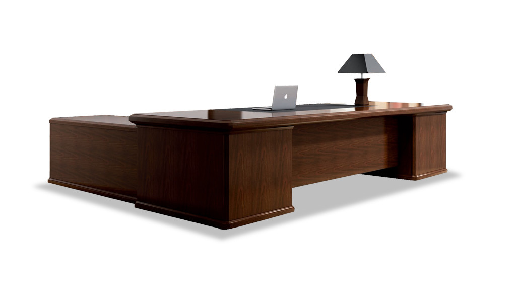 classical style office desk in walnut wood