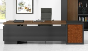 office table in wood veneer with black leather chair and rear cabinet
