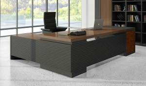 walnut veneer finish L shaped office desk and black leather chair