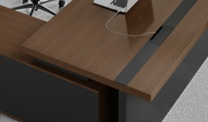 office table with walnut veneer top and concealed wirebox
