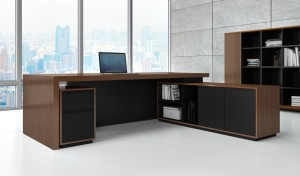 inside of view of modern office desk with side cabinet