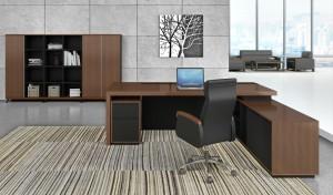 L shape office table in veneer finish