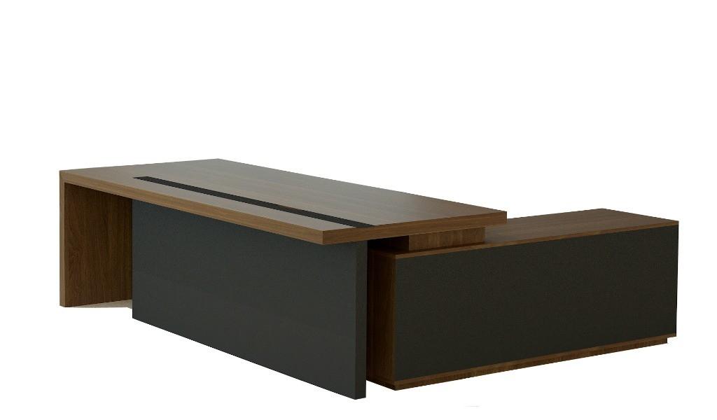L shape office table in walnut veneer