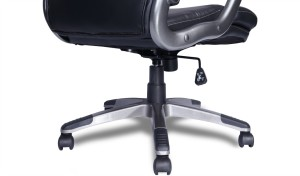 black leather office chair with aluminum ally armrests and base