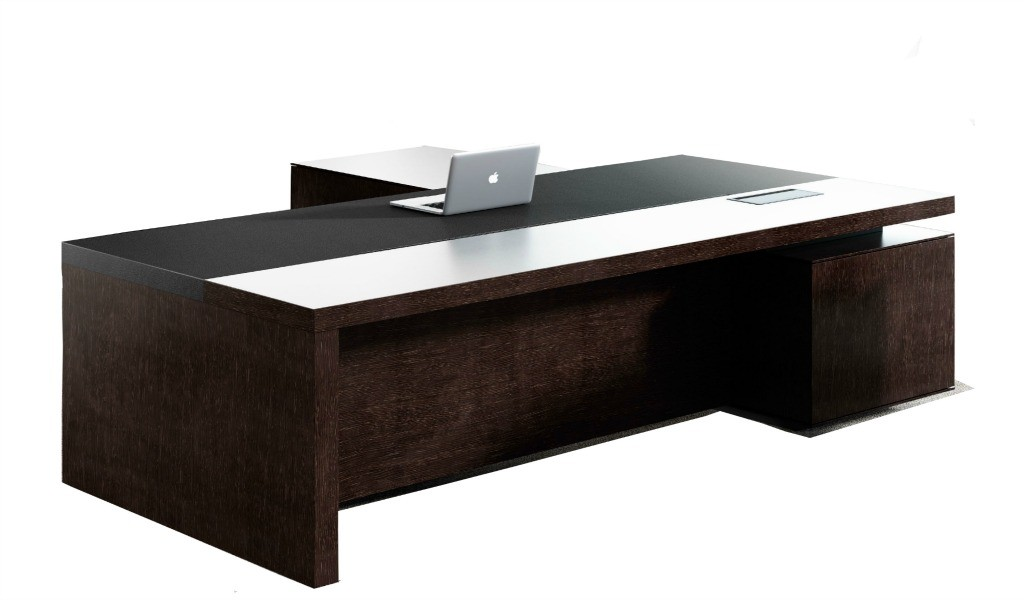 office table in wenge veneer and leather finish