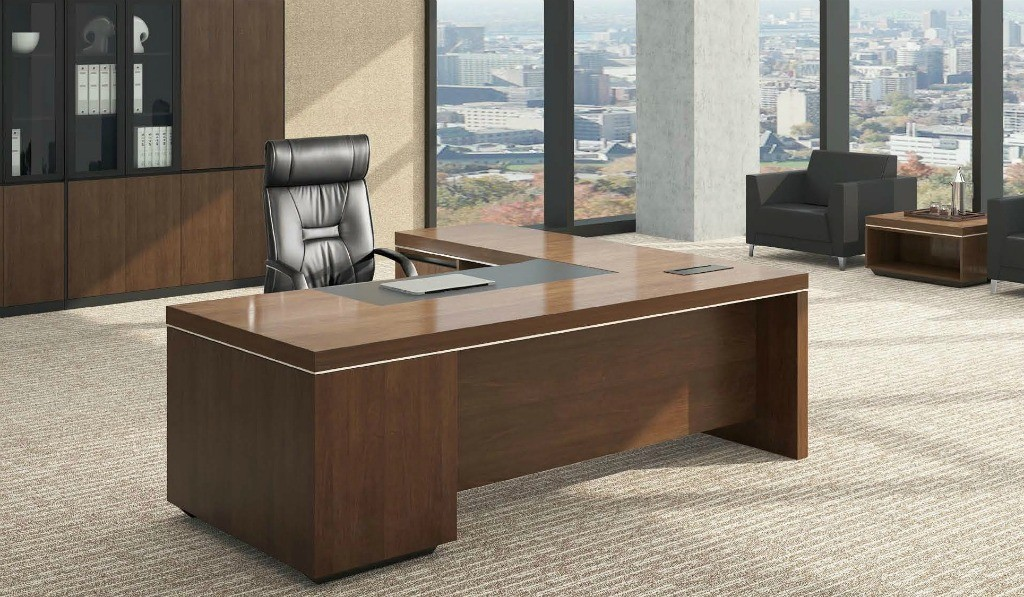 office cabin with office table in walnut veneer