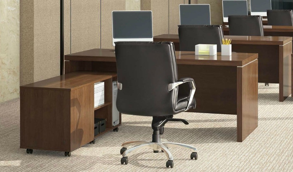 walnut office desk with side cabinet and leather chair