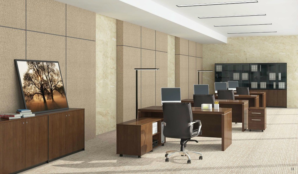 modern office with walnut finish office desks with credenza