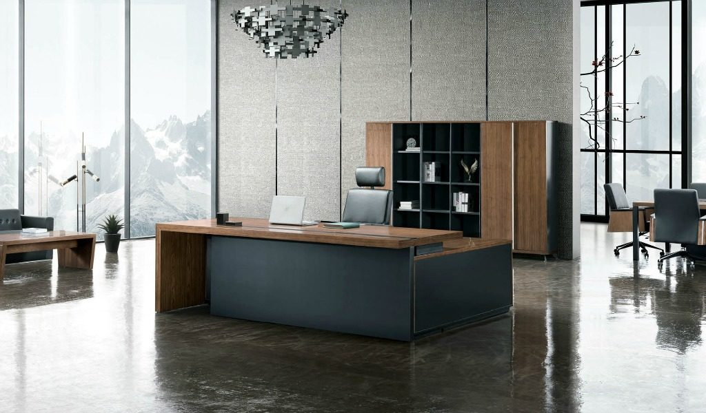 elegant office cabin with wooden office desk and leather chair