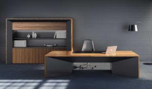high end office cabin with zebra veneer office desk