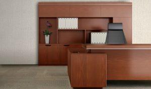 modern office desk with rear storage cabinet