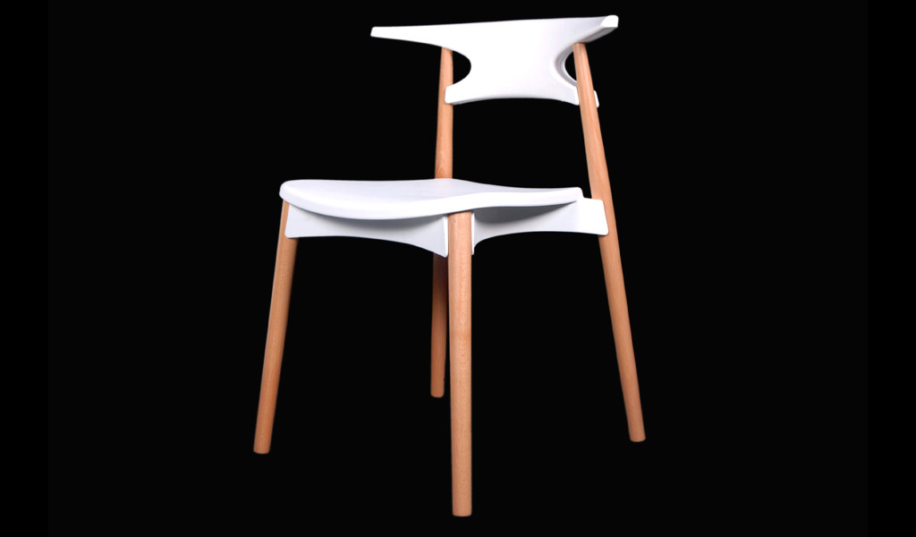 white cafeteria chair with wooden legs