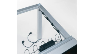 conference table leg with wire management provision