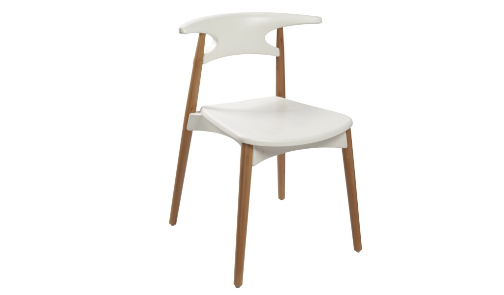 cafeteria chair in white plastic seat and beech wood legs
