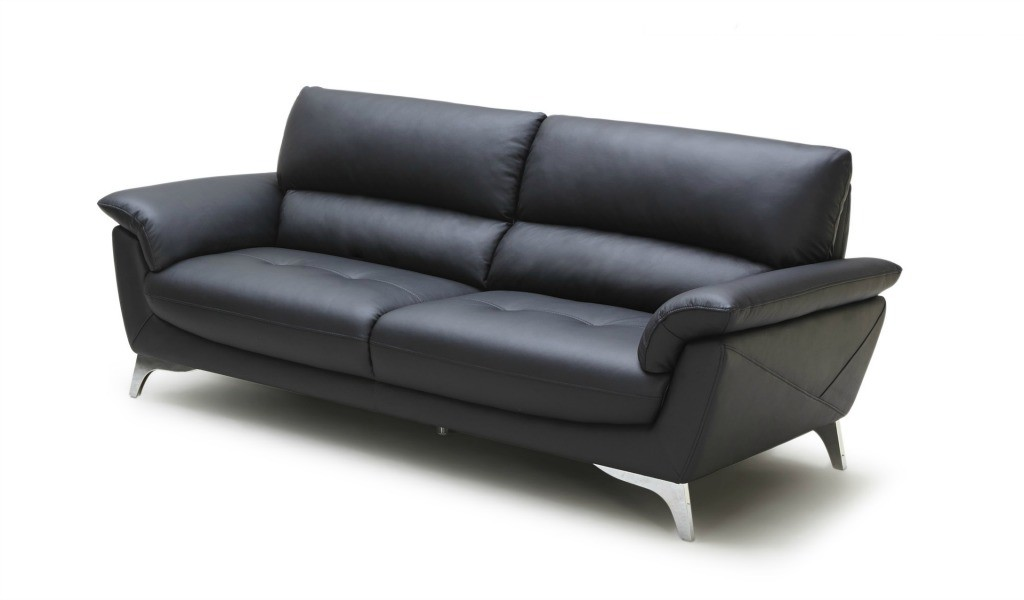 three seater sofa in black leather and steel legs