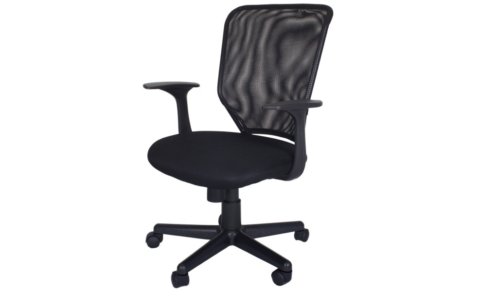black office chair with mesh back and fabric seat