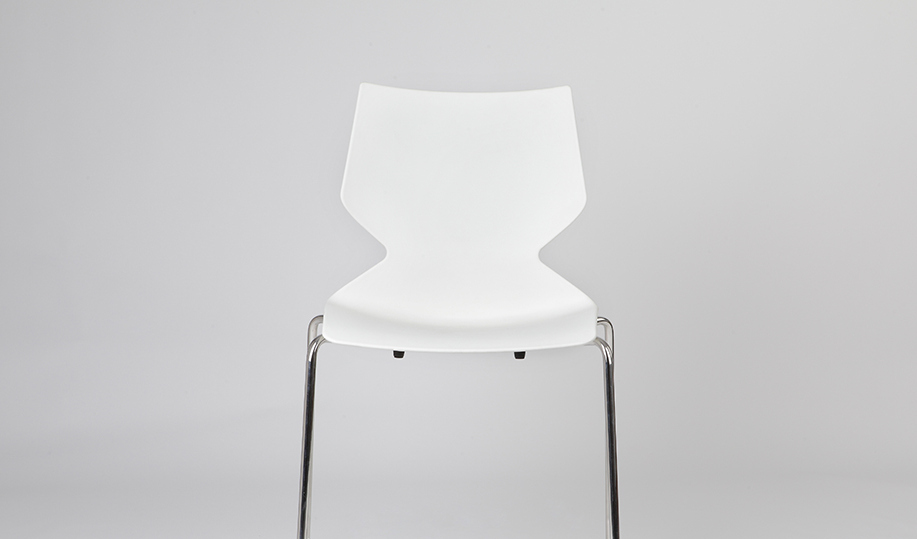 white cafeteria chair with chrome legs
