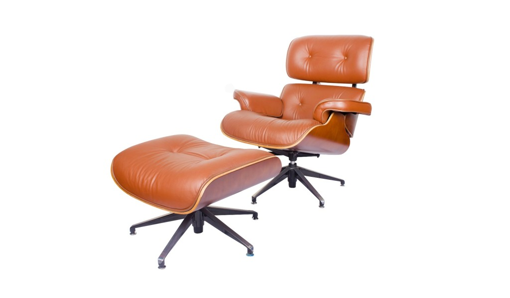 eams lounge chair with ottoman in tan leather