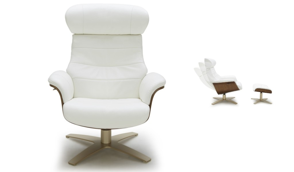 reclining lounge chair in white leather