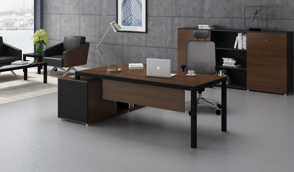 office cabin with walnut finish office table with black metal legs