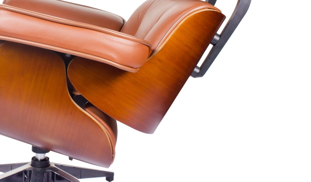 eams chair in tan leather