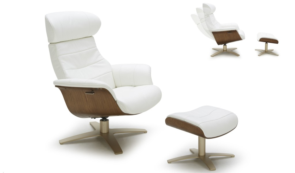 reclining chair and ottoman in white leather
