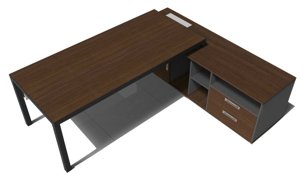 6 feet office table in walnut laminate with black steel frame and legs
