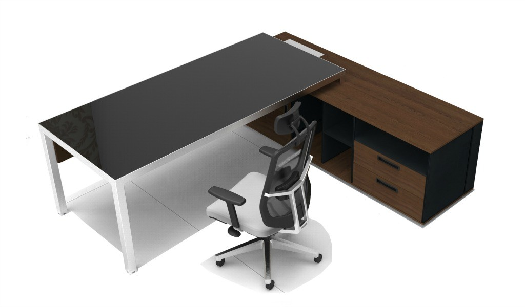 office desk with black glass top and stainless steel frame and legs