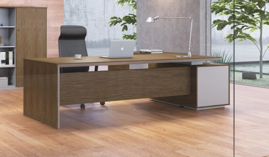 modern office cabin with walnut finish large office table and rear storage unit