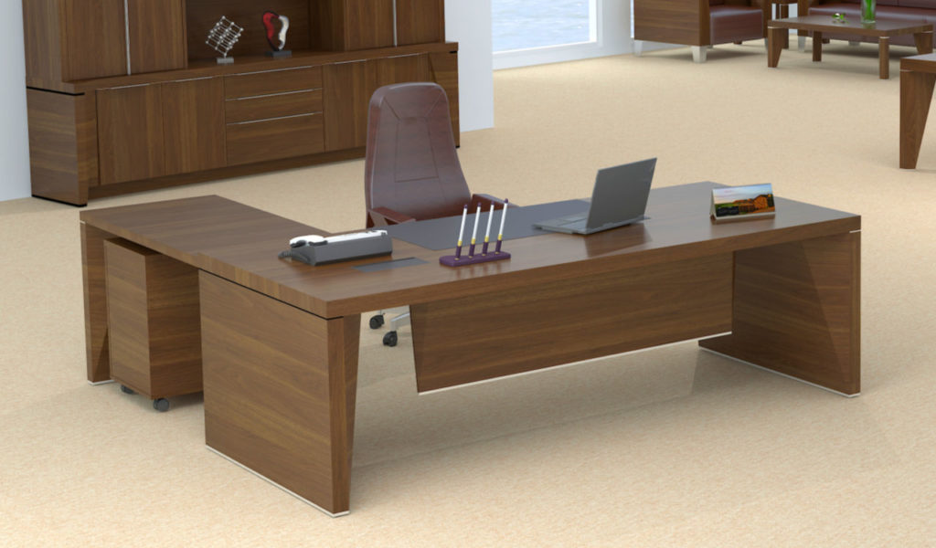 large office cabin with L shape office table and brown leather chair