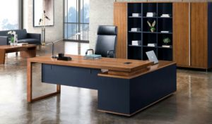 elegant office cabin with walnut wood office desk with side cabinet