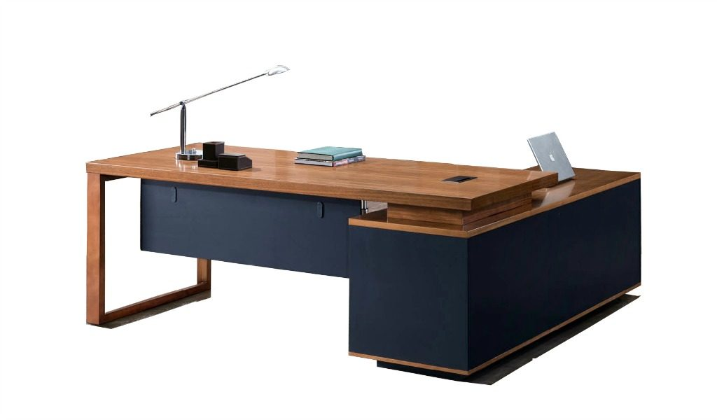 office table with side cabinet in natural wood finish