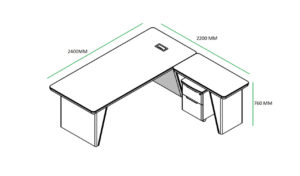 shop drawing of 8 feet office table with side return