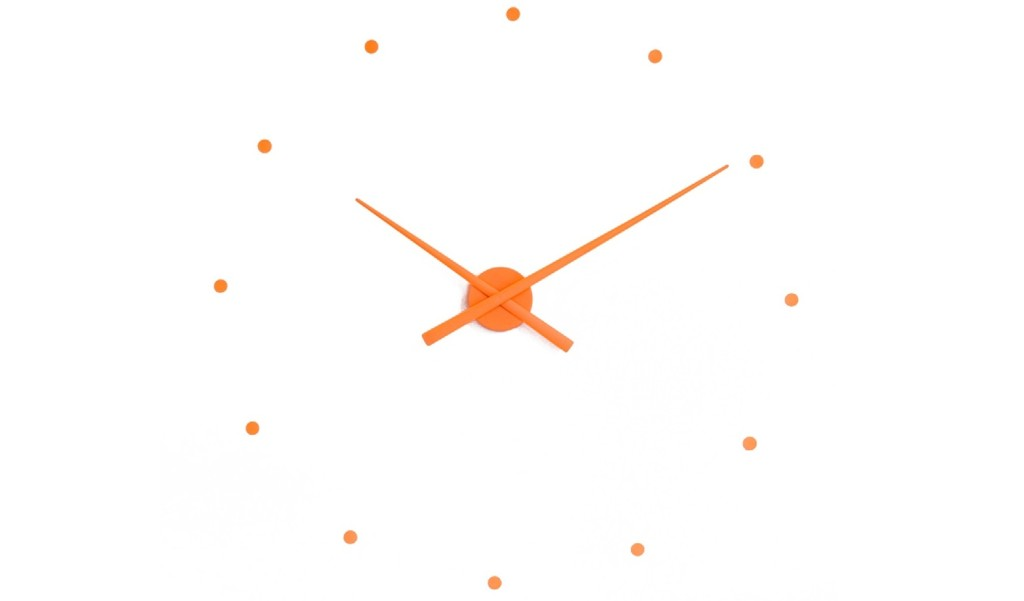 nomon wall clock with orange stick on pieces