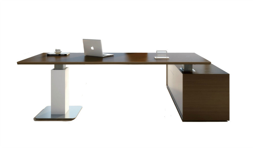 dark walnut office desk with motorized lift function