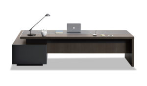 8.5 feet premium office table in walnut veneer and leather finish