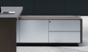 side cabinet of office table with white aluminum panel doors