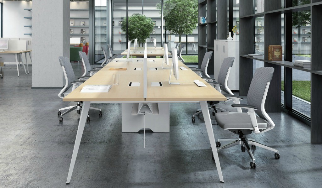 office with linear modular workstations and chairs