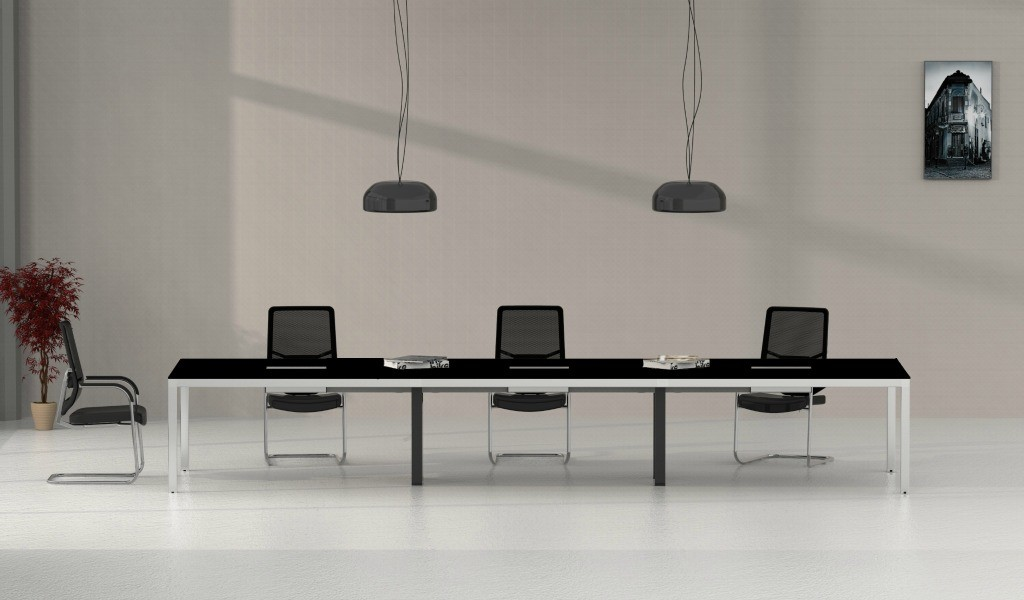 12 seater conference table in black glass and steel