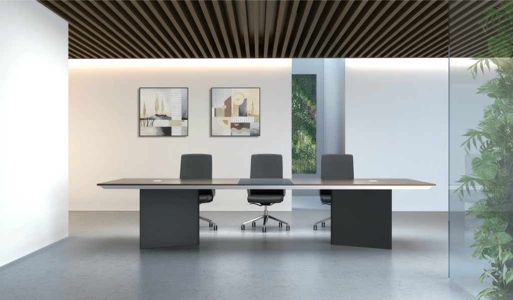contemporary conference room with modern conference table and chairs