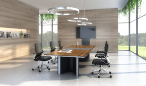 modern conference room with 8 feet meeting table in walnut finish