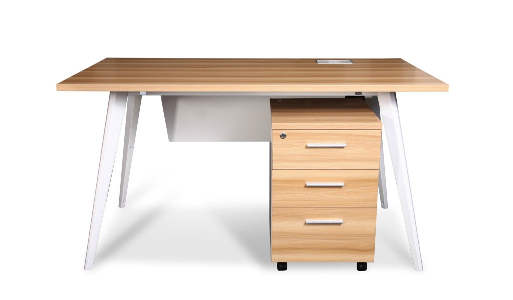 light walnut office desk with white metal legs and mobile pedestal