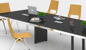 black glass top conference table with yellow chairs