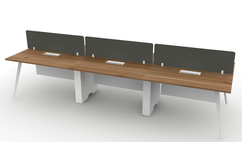 a 6 seater linear modular workstation system with desktop screen