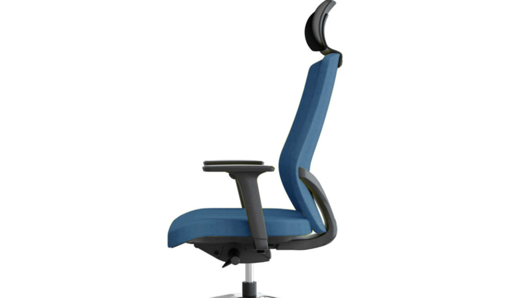 ergonomic office chair in blue fabric